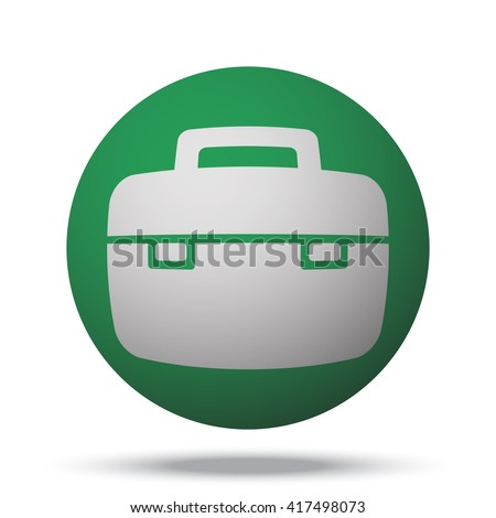 white briefcase web icon on