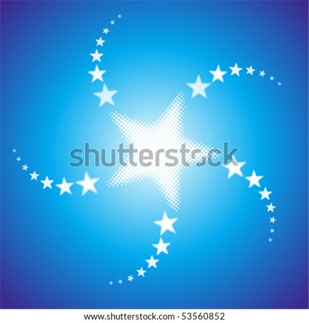 White bright stars at blue background - stock vector