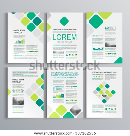 White brochure template design with blue and green square elements. Cover layout and infographics