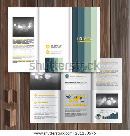 White brochure template design with blue vertical lines. Cover layout