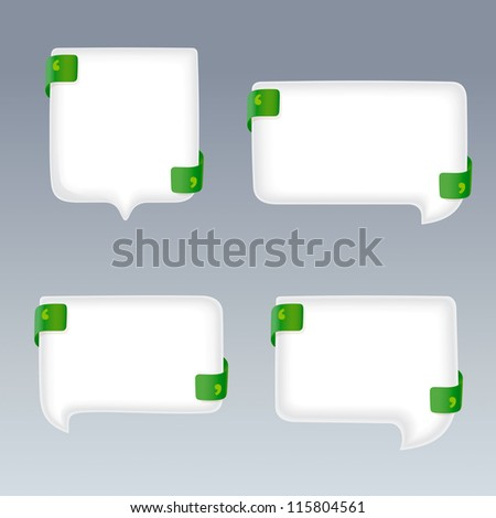 White Bubbles with Quote Marks on green Ribbons
