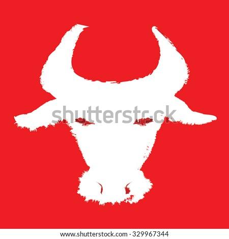 white bull head vector...