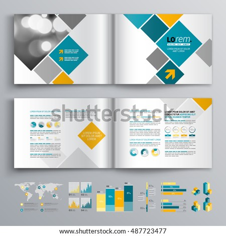 White business brochure template design with blue and orange square elements. Cover layout and infographics