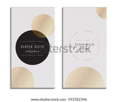 White business card template or gift cards. Texture of gold foil. Luxury vector illustration.