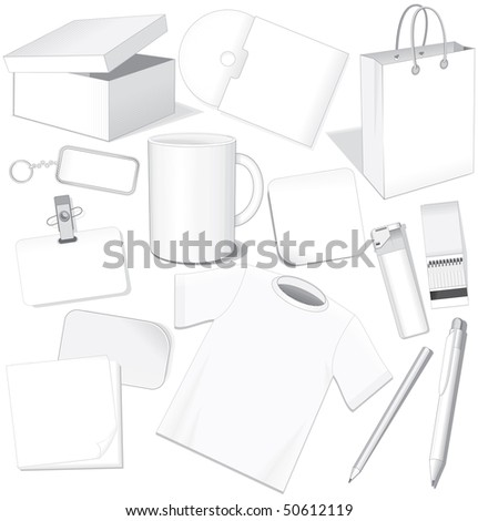 White business templates: paper, card, package, cd, cup, pen, layout, t-shirt - easy editable vector without gradients