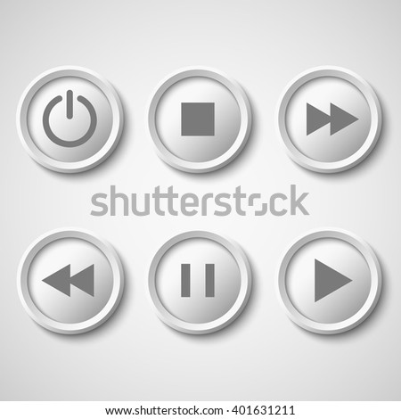 White buttons for player: stop, play, pause, rewind, fast forward, power. Vector illustration.