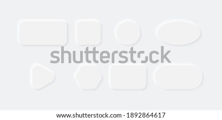 White Buttons in Neomorphism design. Blank Buttons different shape with shadow. Vector illustration