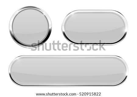 White buttons with chrome frame. Vector 3d illustration isolated on white background