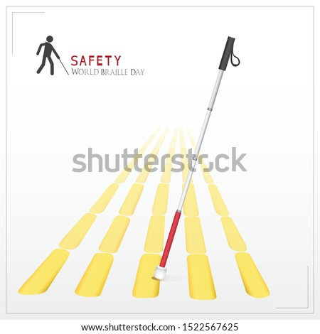 White cane and international day concept safety banner: help take care of the blind by paving the way, helping the blind to visually indicate the guiding indicators.Vector illustration