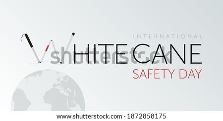 White cane international safety day design. Awareness for blinded ones. Stock fotó ©
