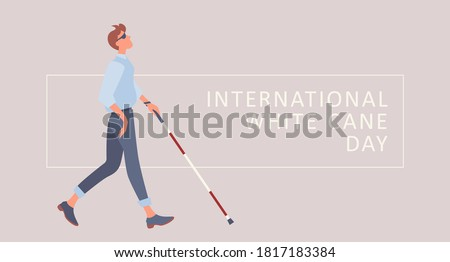 white cane safety day vector