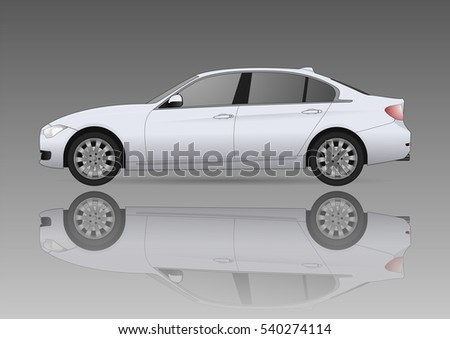 white car and the reflection on