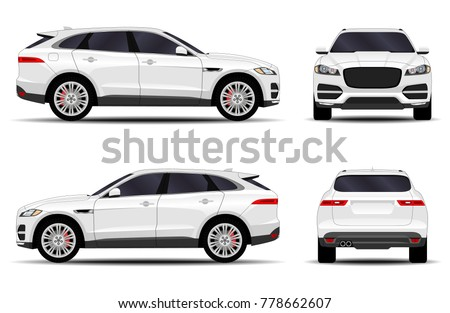 white car. front view; side view; back view.