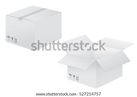 White cardboard box. Vector illustration isolated on white background.