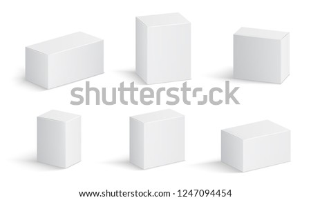 White cardboard boxes. Blank medicine package in different sizes. Medical product square box 3d vector isolated mockups