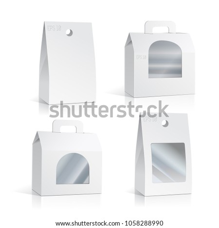 White Cardboard Carry Box Packaging For Food, Gift Or Other Products With Window. Illustration Isolated On White Background. Mock Up Template Ready For Your Design. Product Packing Vector