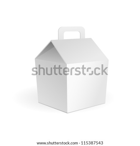 White Cardboard Fast Food Box, Packaging For Lunch, Chinese Food. On White Background Isolated. Ready For Your Design. Product Packing Vector EPS10