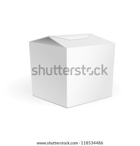 White Cardboard Fast Food Or Candies Box, Packaging For Lunch, Chinese Food. On White Background Isolated. Ready For Your Design. Product Packing Vector EPS10