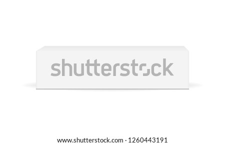 White cardboard rectangular box mockup - front view. Blank packaging mock up for toothpaste or cream. Vector illustration