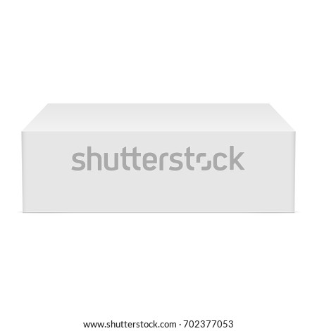 White cardboard rectangular box mockup - front view.  Blank packaging template for mobile phone or gift box isolated. Vector illustration