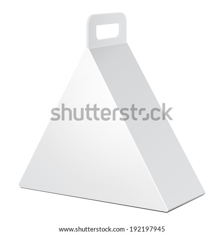 White Cardboard Triangle Carry Box Bag Packaging For Food Gift Or Other Products On White Background Isolated Ready For Your Design Product Packing Vector EPS10