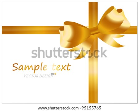 White cards with gold ribbons. Vector illustration.