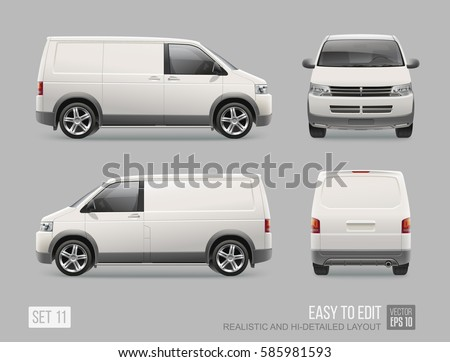 White Cargo Delivery Van vector template for Brand Mockup and Corporate identity on City Transport. Realistic Front and back view Cargo Mini Van Vehicle isolated on grey background. Service City Car