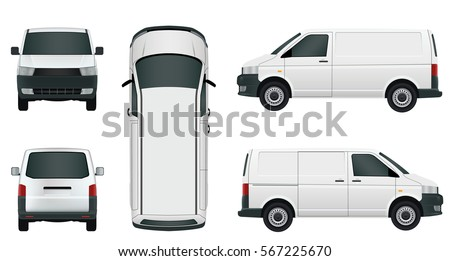 White cargo minivan on a white background - Stock Vector.