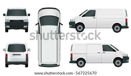 white cargo minivan on a white