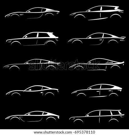 white cars silhouettes can be