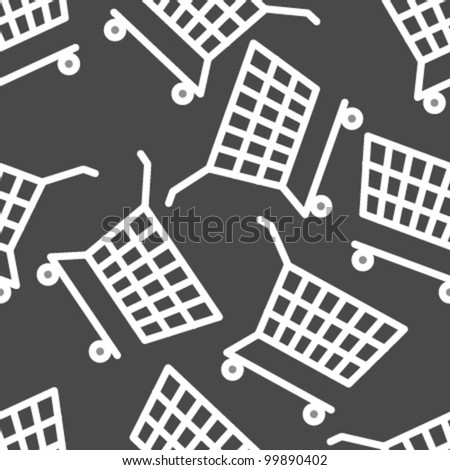 white cart on grey seamless pattern