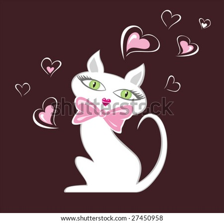 White cartoon female cat illustration. Without gradients.