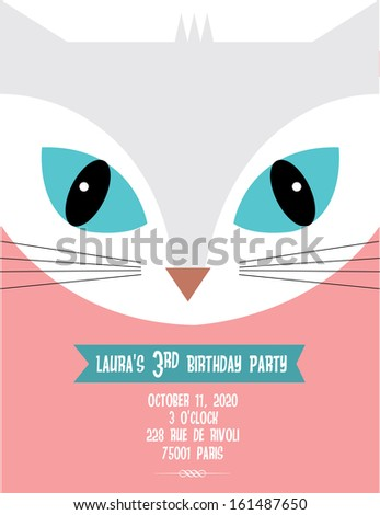 white cat birthday invitation template vector illustration