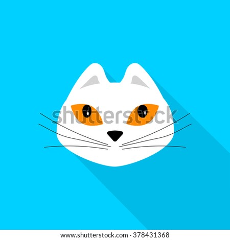 white cat  flat design