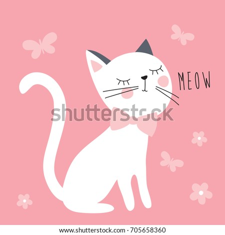 Stock Photo white cat with butterflies and flowers vector illustration