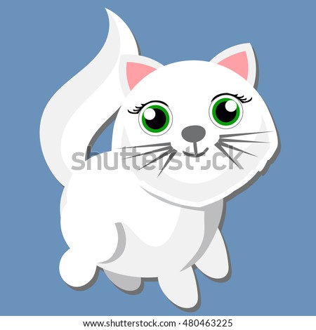white cat with green eyes blue