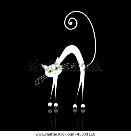 black and white cat with green eyes. White cat with green eyes