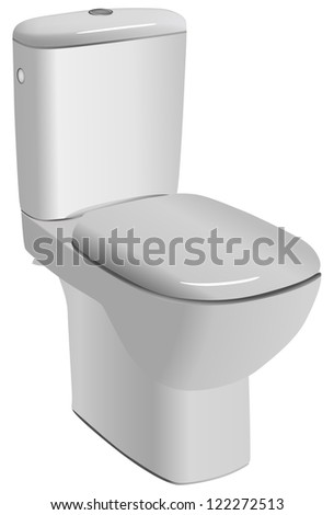 White ceramic toilet isolated on a white background. Vector.