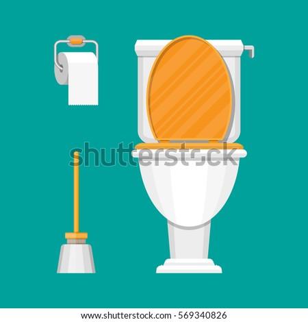 White ceramics toilet, toilet paper and toilet brush. modern toilet set in flat style. Vector illustration