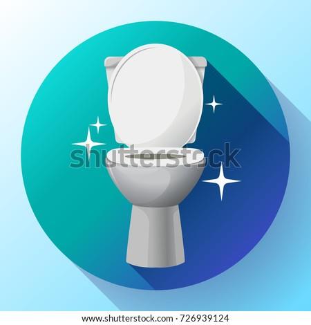 White ceramics vector clean toilet bowl icon. modern toilet in flat style. apartment cleaning service logo, housekeeping logo, sparkling toilet bowl
