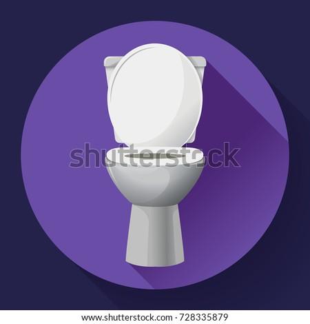 White ceramics vector toilet bowl icon. modern toilet in flat style. Vector illustration
