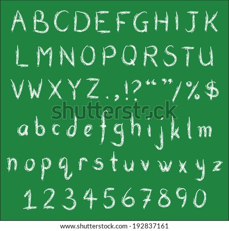 White chalk handwritten alphabets, numbers and common punctuation on green black board. Vector Fonts.