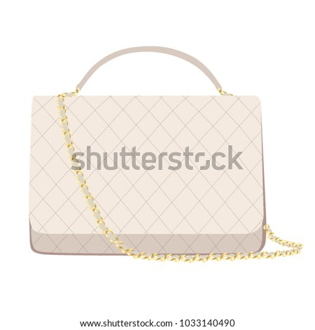 White Chanel handbag brand Editorial isolated on white background