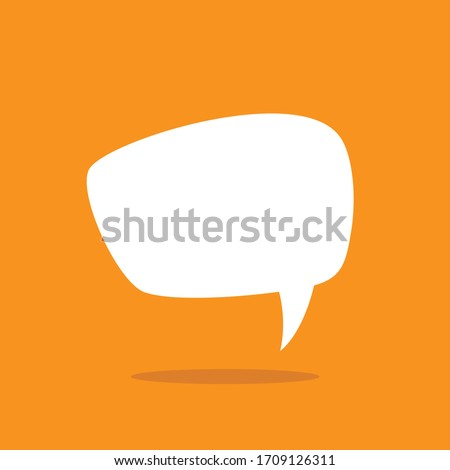 white chat speech bubble with shadow on red background. Talk, chat message, comment, communicate, messenger concept. Vector flat icon. Tint, hint, quote, citation. Help window.