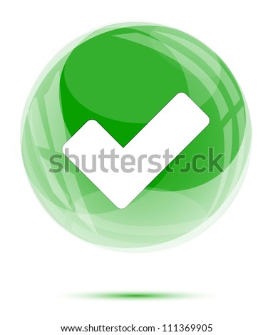 White check mark in the green glass sphere on white