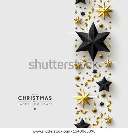 White Christmas Background with Border made of Gold and Black Stars,  Beads and Confetti. Chic Christmas Greeting Card.