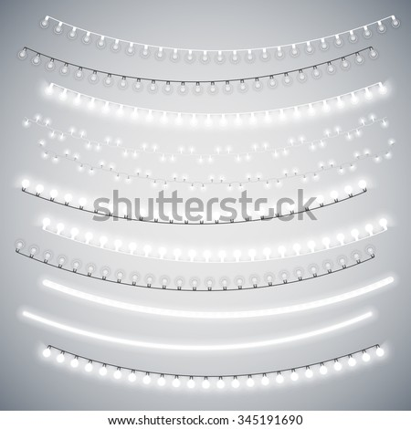 White Christmas Electric Garlands Set for Celebratory Design. Used pattern brushes included.