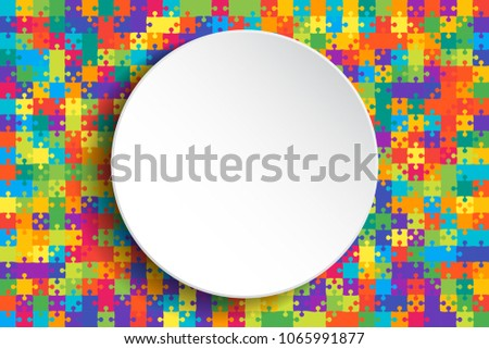 White Circle Banner Colorful Background Puzzle. Jigsaw Puzzle Banner. Vector Illustration Template Shape. Abstract Puzzle Background. Puzzle Game, Mosaic, Mosaic Tiles Background. Pieces. Puzzles.