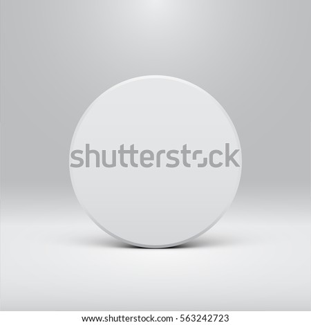 White circle design for websites or products, realistic vector illustration