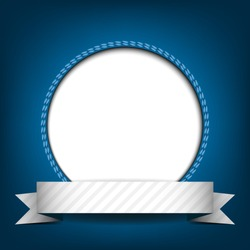 White circle with place for text or image on blue background. Vector version.